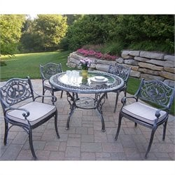 Oakland Living 5 Piece Metal Patio Dining Set in Antique Pewter