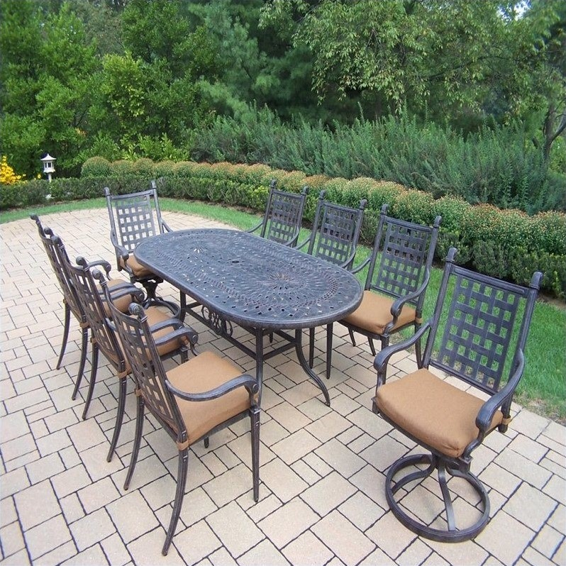 oakland living belmont 9 piece metal patio dining set in aged ebay