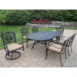 Oakland Living 7 Piece Metal Patio Dining Set in Antique Black