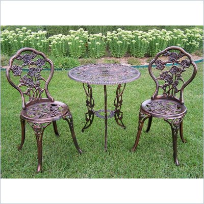 Oakland Living Rose Cast Aluminum 3 Piece Bistro Set in Antique Bronze
