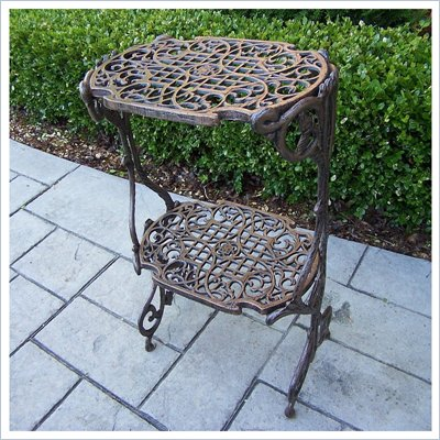 Oakland Living Antique Bronze 2-Level Plant Stand/Table