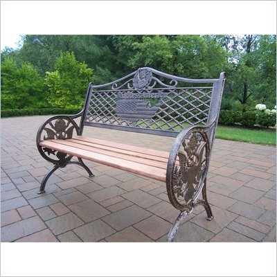 Oakland Living GOD Bless America Bench in Antique Bronze