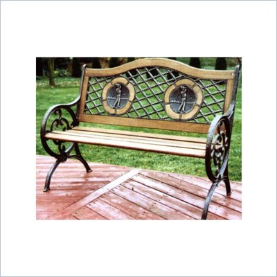 Oakland Living Antique Bronze Twin Golfer Bench with Round Legs