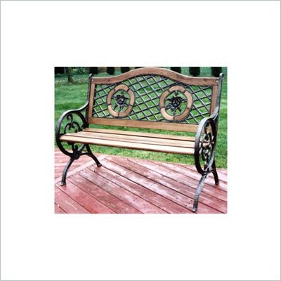 Oakland Living Antique Bronze Twin Rose Bench with Round Legs