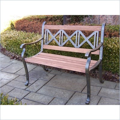 Oakland Living Triple Cross Bench in Antique Bronze Finish