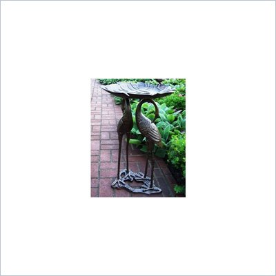 Oakland Living Antique Bronze Two Cranes with Lily Birdbath