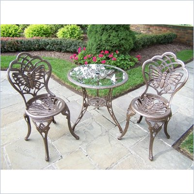 Oakland Living Butterfly 3-Piece Bistro Set