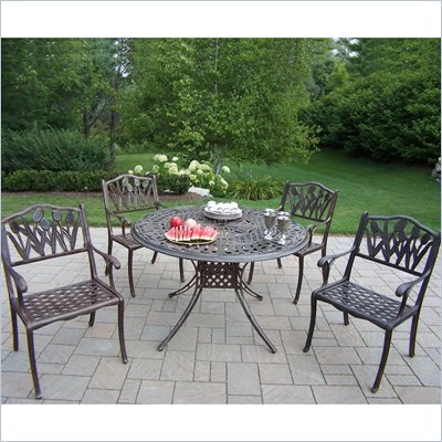 Oakland Living Capitol 48 Inch Tulip 5pc Dining Set in Antique Bronze