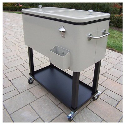 Oakland Living Steel Patio Cooler Cart with Full Tray