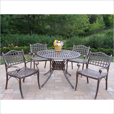 Oakland Living Elite 42 Inch 5  Piece Dining Set in Lattice Pattern