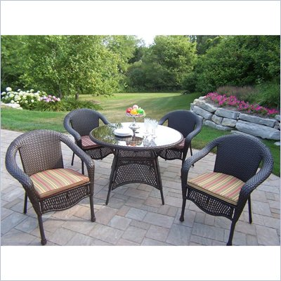 Oakland Living Elite Resin Wicker 5pc Dining Set with Cushions