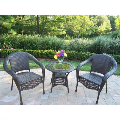 Oakland Living Elite Resin Wicker 3 Piece Set in coffee Finish