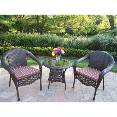 Oakland Living Elite Resin Wicker 3 Piece  Set with Cushions