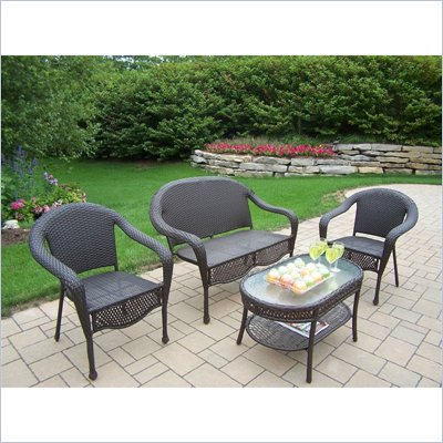 Oakland Living Elite Resin Wicker 4 Piece Seating Set in Coffee Finish