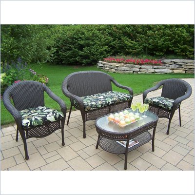 Oakland Living Elite Resin Wicker 4pc Seating Set with Cushions