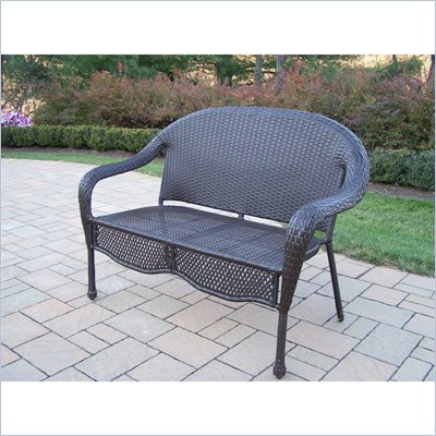 Oakland Living Elite Resin Wicker Loveseat in Coffee Finish