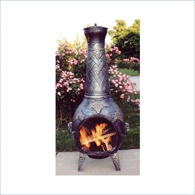 Oakland Living Antique Pewter Grape Fire Pit Chimenea with Grill