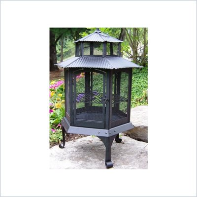Oakland Living Black Pagoda Wood Burning Metal Firepit