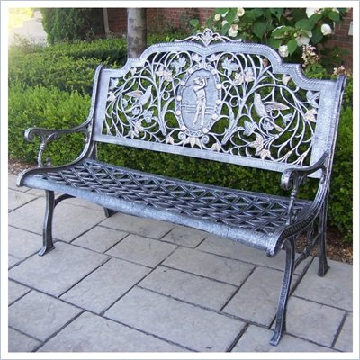 Oakland Living Golfer Bench in Antique Pewter