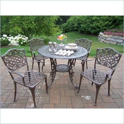 Oakland Living Mississippi 42 Inch 5 piece Dining Set In Lattice pattern