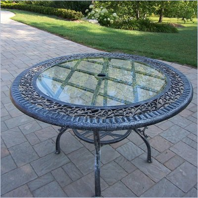 Oakland Living Mississippi 48 Inch Glass Top Dining Table