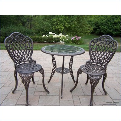Oakland Living Mississippi 3 piece Glass Top Bistro Set