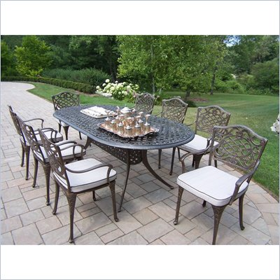 Oakland Living Mississippi 82 x 42 Inch Oval 9pc Dining Set with Cushions