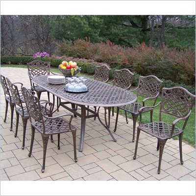Oakland Living Mississippi 82 x 42 Inch Oval 9pc Dining Set
