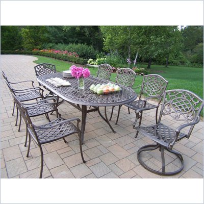 Oakland Living Mississippi 82 x 42 Inch Oval 9pc Dining Set with Swivels