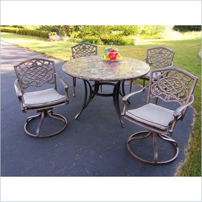 Oakland Living Stone Art 48 Inch Mississippi 5pc Dining Set with Swivel Chairs and Cushions