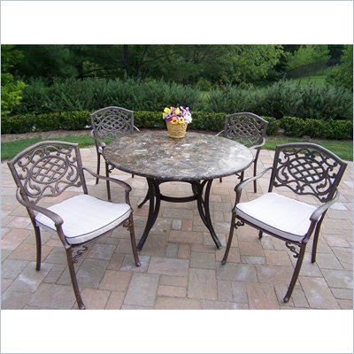 Oakland Living Stone Art 48 Inch Mississippi 5pc Dining Set with Cushions