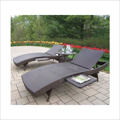 Oakland Living Elite Resin Wicker 3pc Chaise Lounge Set