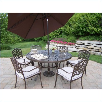 Oakland Living Mississippi 60 Inch 7pc Dining Set with Cushions Umbrella and Stand