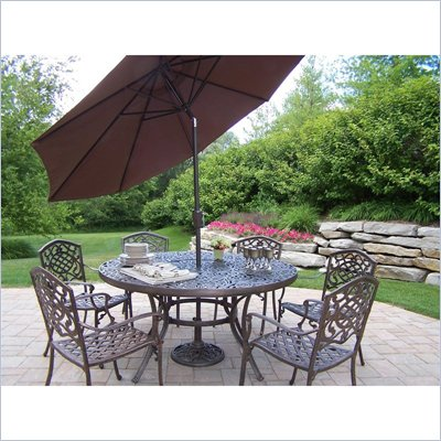 Oakland Living Mississippi 60 Inch 7pc Dining Set with Umbrella and Stand