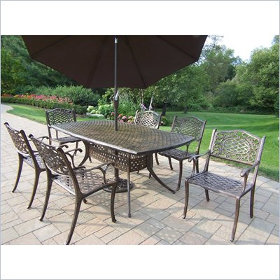 Oakland Living Oxford Mississippi 7pc Dining Set and Umbrella Set