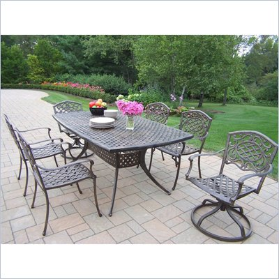 Oakland Living Oxford Mississippi 7pc Dining Set with Swivel Chairs