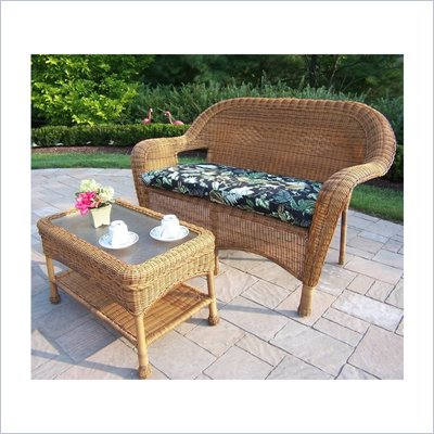 Oakland Living Resin Wicker 2pc Loveseat and Coffee Table Set with Cushions