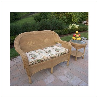 Oakland Living Resin Wicker 2pc Loveseat and Side Table Set with Cushions