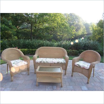 Oakland Living Resin Wicker 4pc Seating Set with Cushions