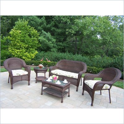Oakland Living Resin Wicker 5pc Seating Set with Cushions