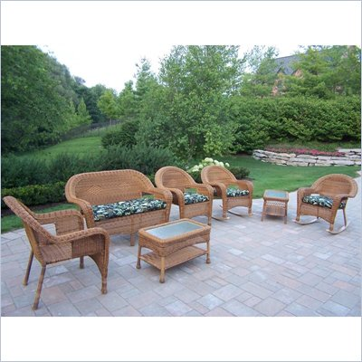 Oakland Living Resin Wicker 7pc Seating Set with Cushions