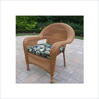 Oakland Living Resin Wicker Arm Chair with Cushion