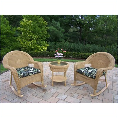 Oakland Living Resin Wicker 3pc Rocker Set with Cushions