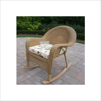 Oakland Living Resin Wicker Rocker with Cushion