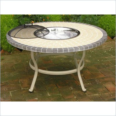 Oakland Living Stone Art 42 Inch Conversation Table and Stainless Steel Ice Bucket Set