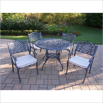 Oakland Living Tea Rose 42 Inch 5pc Dining Set with Cushions