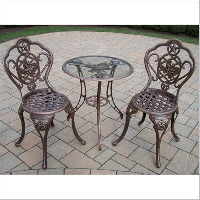 Oakland Living Texas Rose 3pc Bistro Set