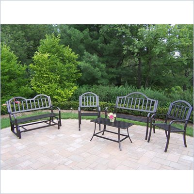 Oakland Living Rochester 5 Piece Seating Set in Hammer Tone Bronze Finish