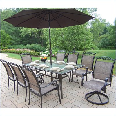Oakland Living Cascade 9pc Dining Set with 2pc Umbrella Set