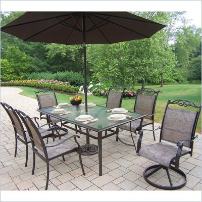 Oakland Living Cascade 7pc Dining Set with 2pc Umbrella Set in Coffee Finish